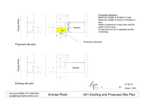 A01 Existing and Proposed site plan - Grange road